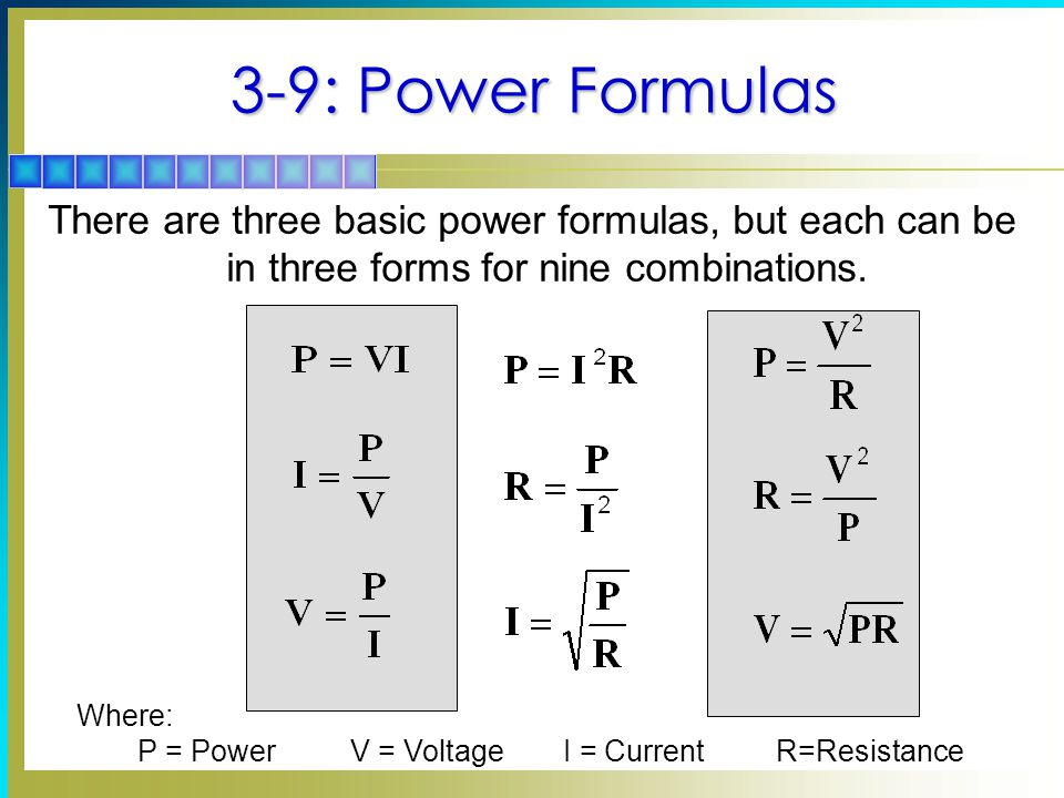 P = Power V = Voltage I = Current R=Resistance