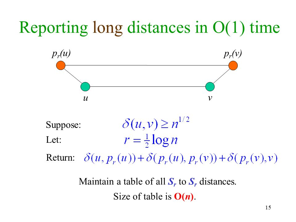 Reporting long distances in O(1) time