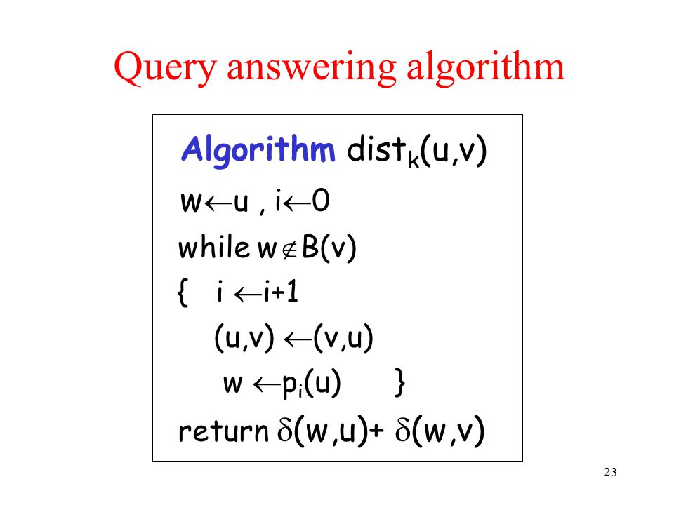 Query answering algorithm