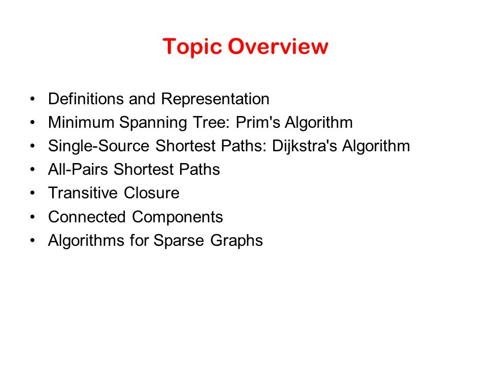 Topic Overview Definitions and Representation
