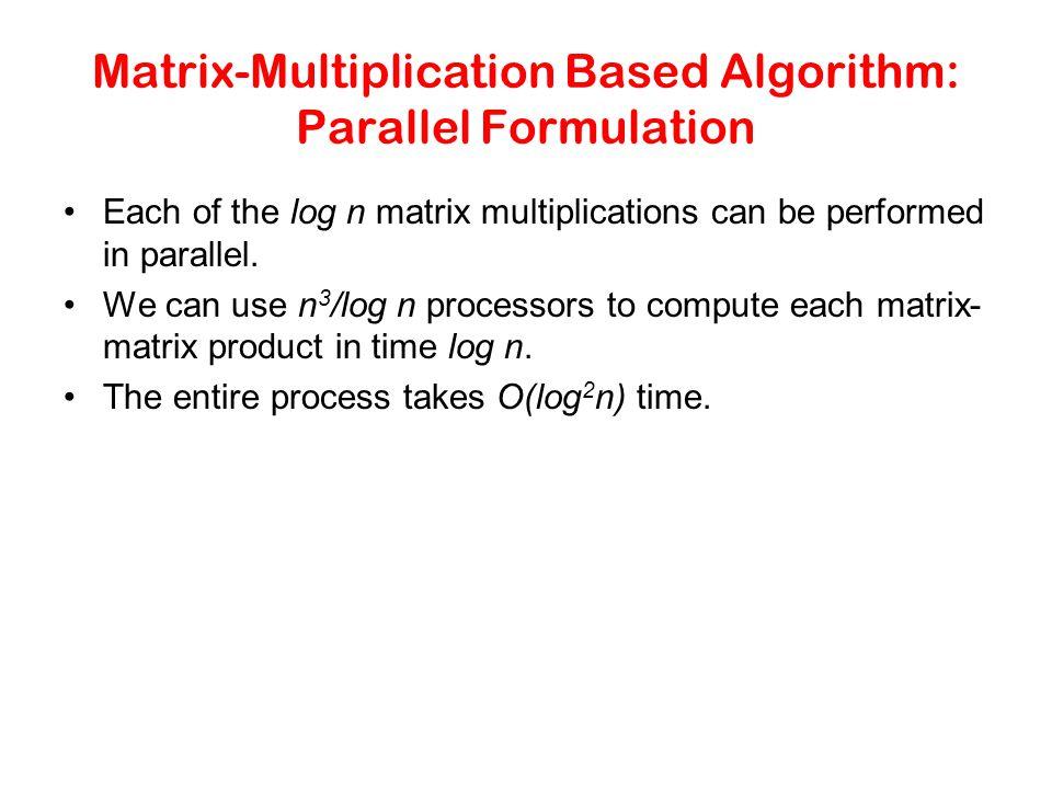 Matrix-Multiplication Based Algorithm: Parallel Formulation