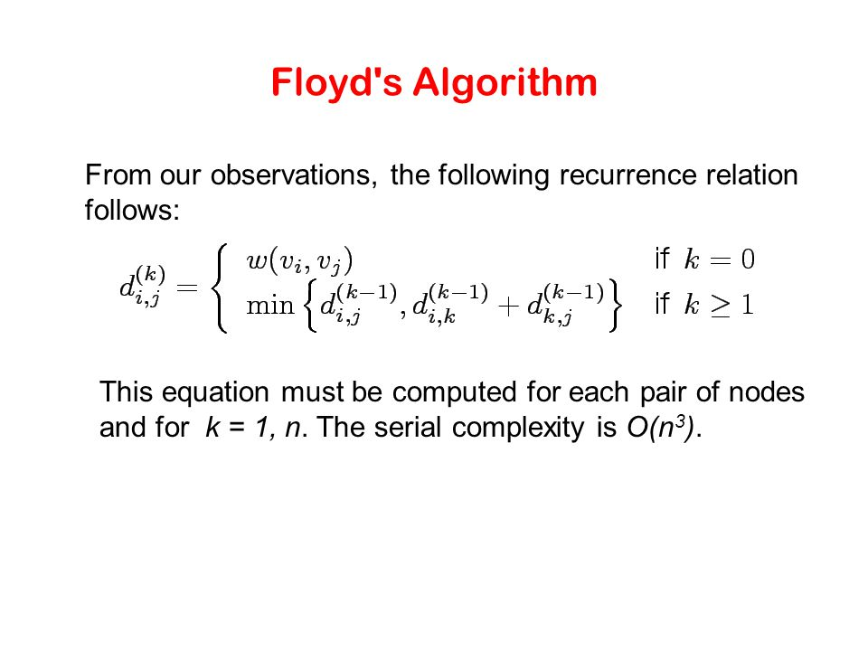 Floyd s Algorithm From our observations, the following recurrence relation follows: