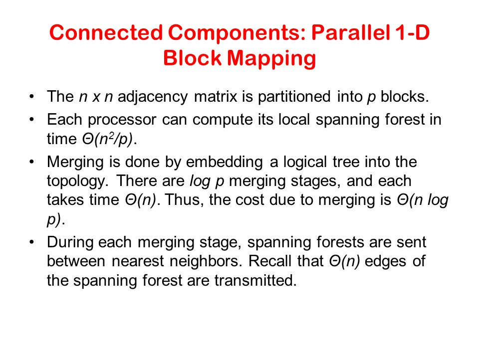 Connected Components: Parallel 1-D Block Mapping