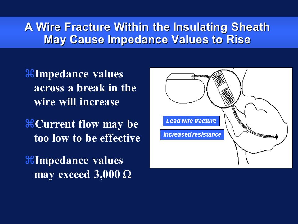 Impedance values across a break in the wire will increase