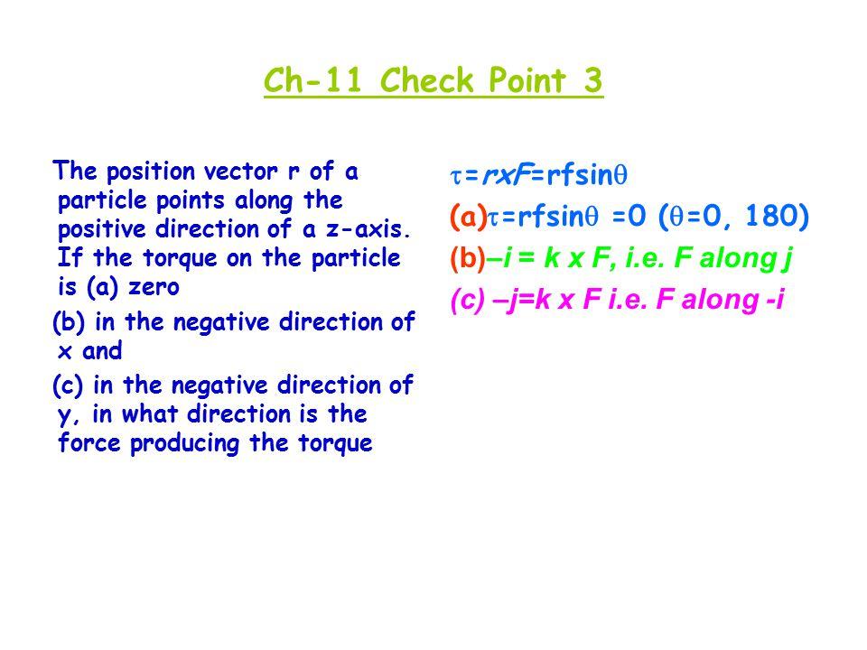 Ch-11 Check Point 3 =rxF=rfsin =rfsin =0 (=0, 180)