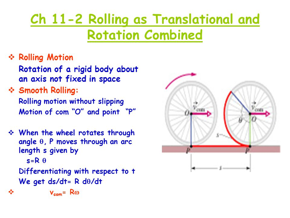 Ch 11-2 Rolling as Translational and Rotation Combined