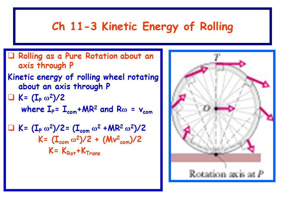 Ch 11-3 Kinetic Energy of Rolling