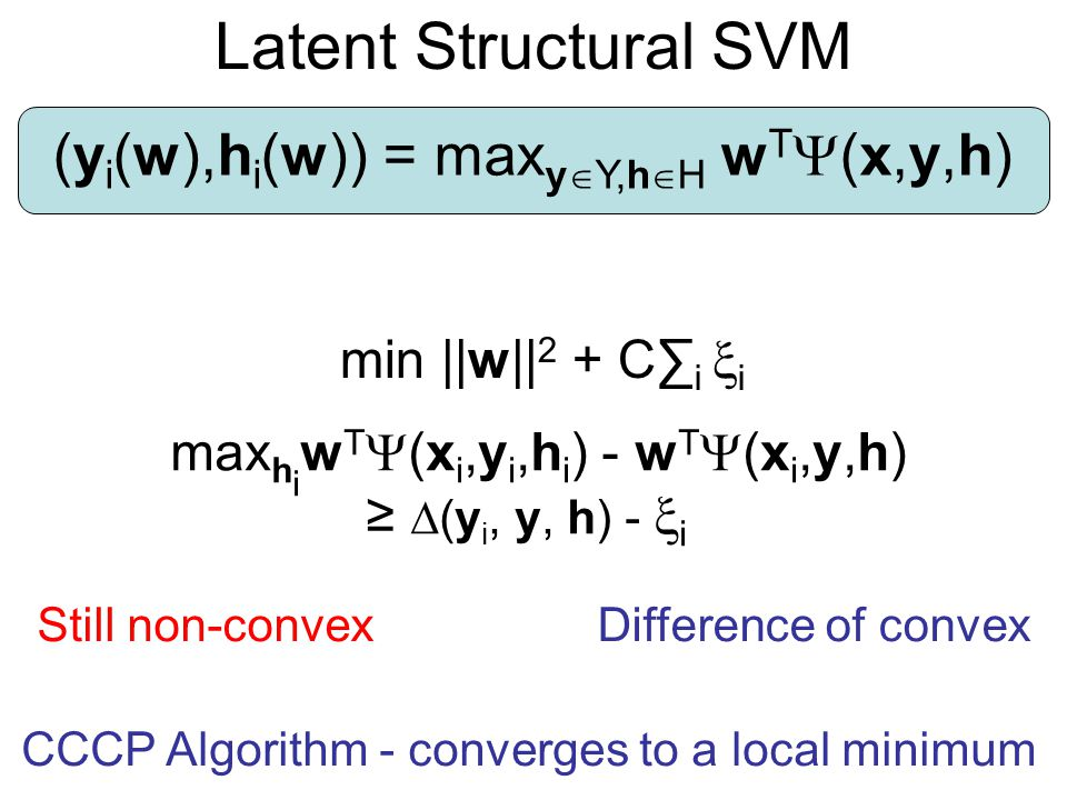 Latent Structural SVM (yi(w),hi(w)) = maxyY,hH wT(x,y,h)
