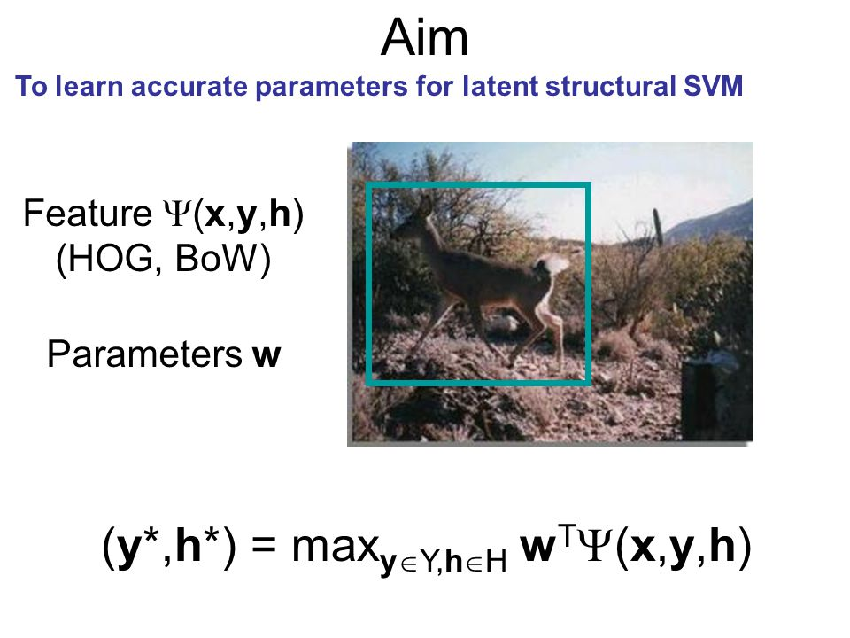 Aim (y*,h*) = maxyY,hH wT(x,y,h) Feature (x,y,h) (HOG, BoW)