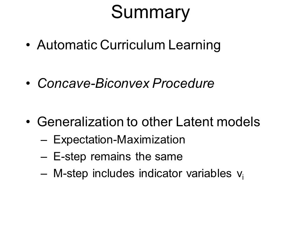 Summary Automatic Curriculum Learning Concave-Biconvex Procedure