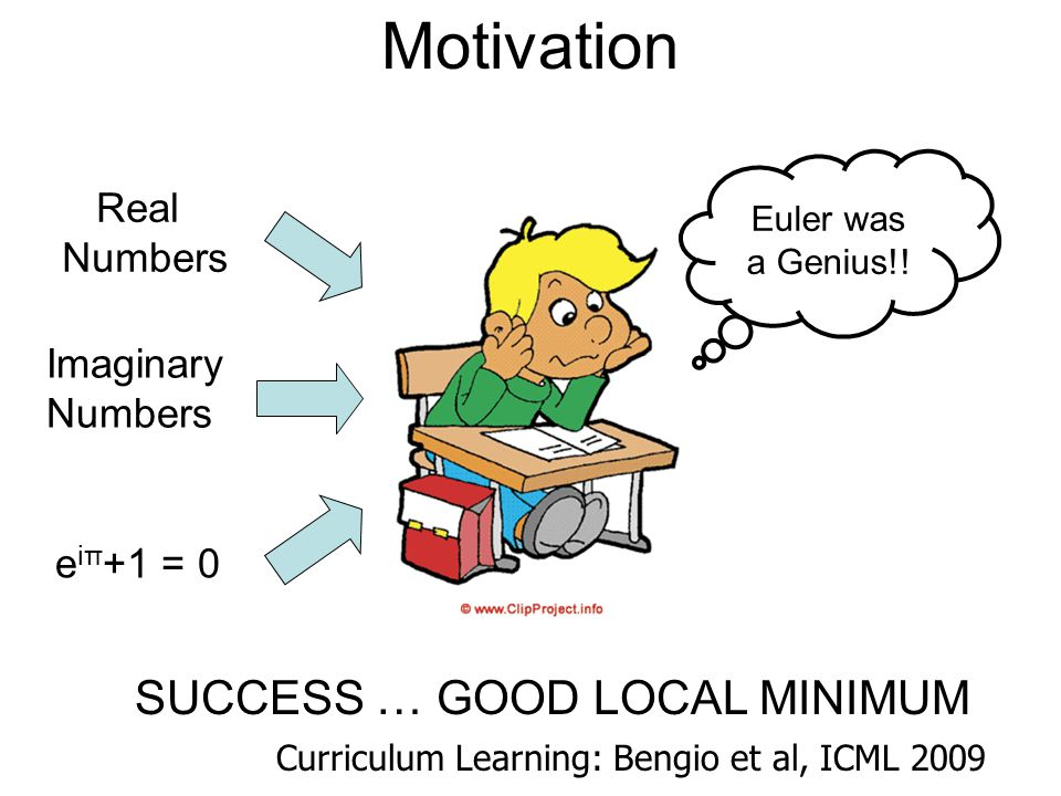 Motivation SUCCESS … GOOD LOCAL MINIMUM Real Numbers Imaginary Numbers