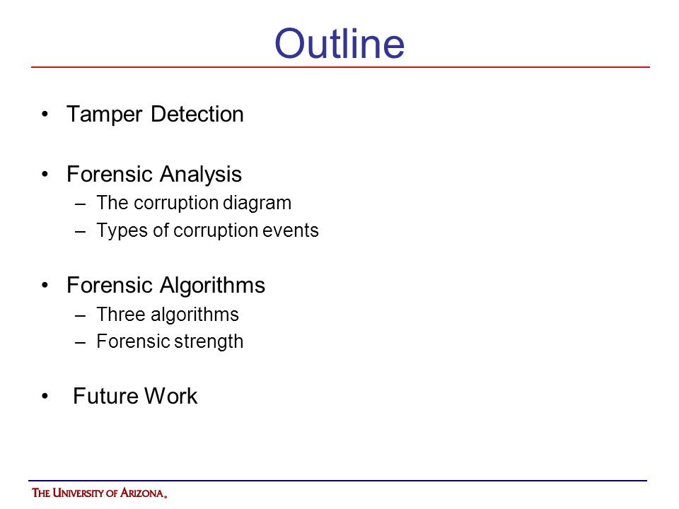 Outline Tamper Detection Forensic Analysis Forensic Algorithms