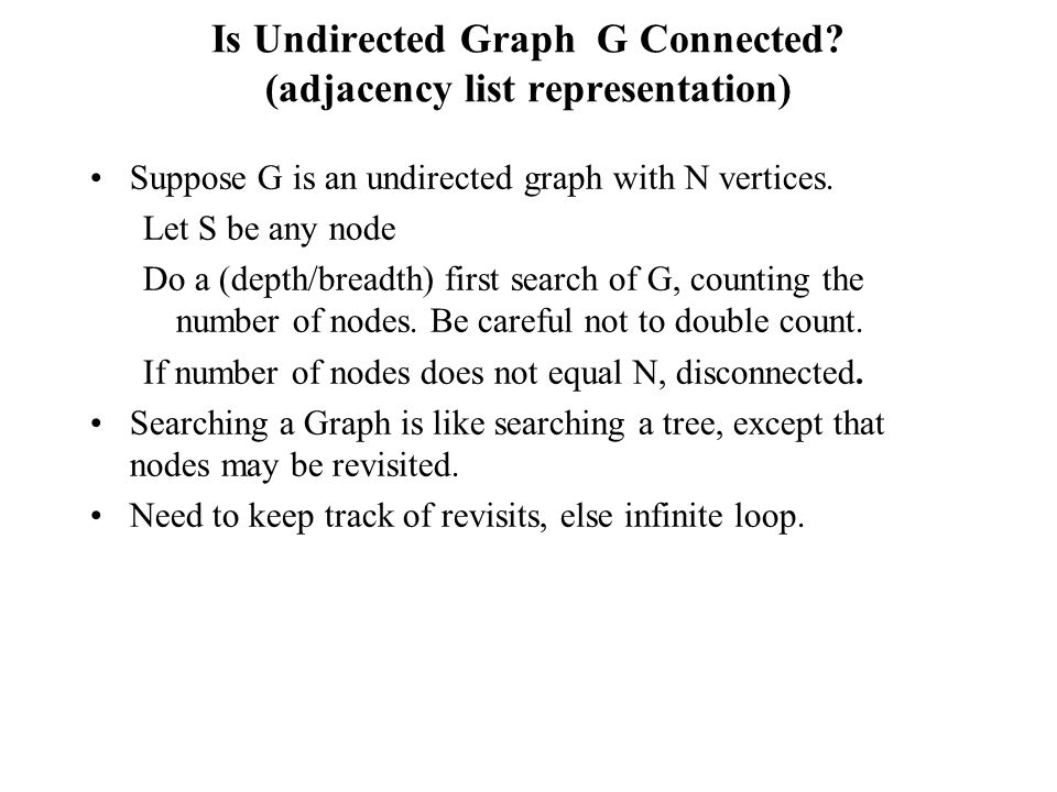 Is Undirected Graph G Connected (adjacency list representation)