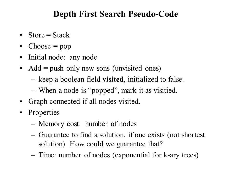Depth First Search Pseudo-Code