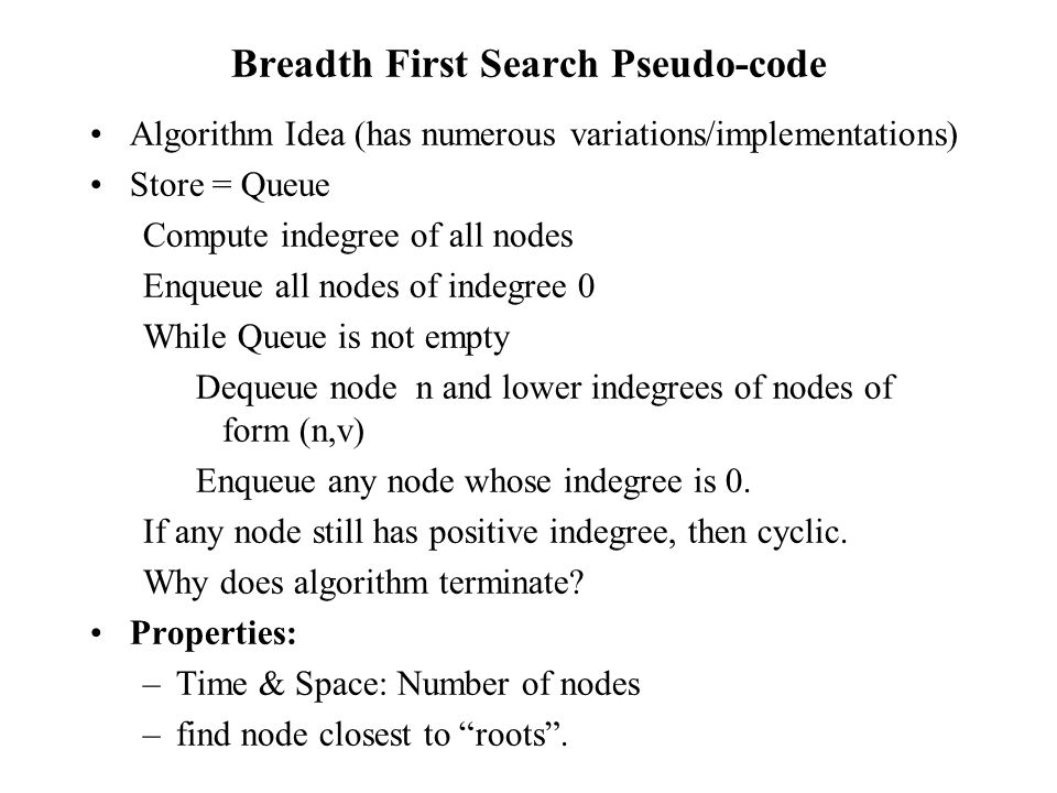 Breadth First Search Pseudo-code