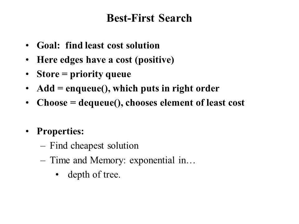 Best-First Search Goal: find least cost solution