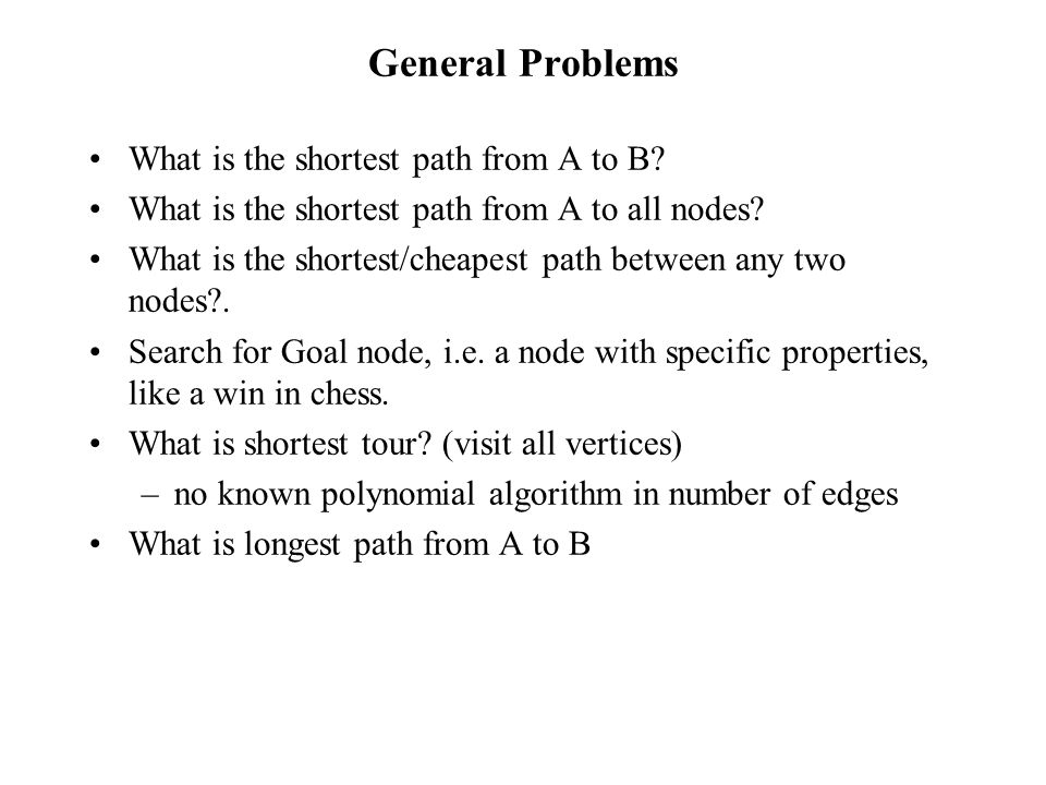 General Problems What is the shortest path from A to B