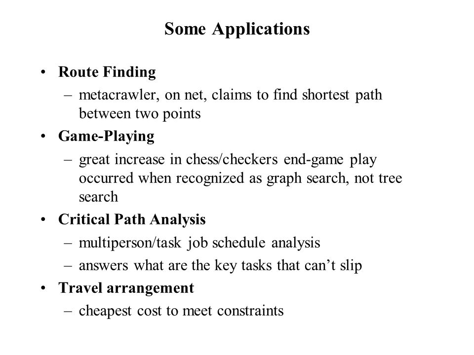 Some Applications Route Finding