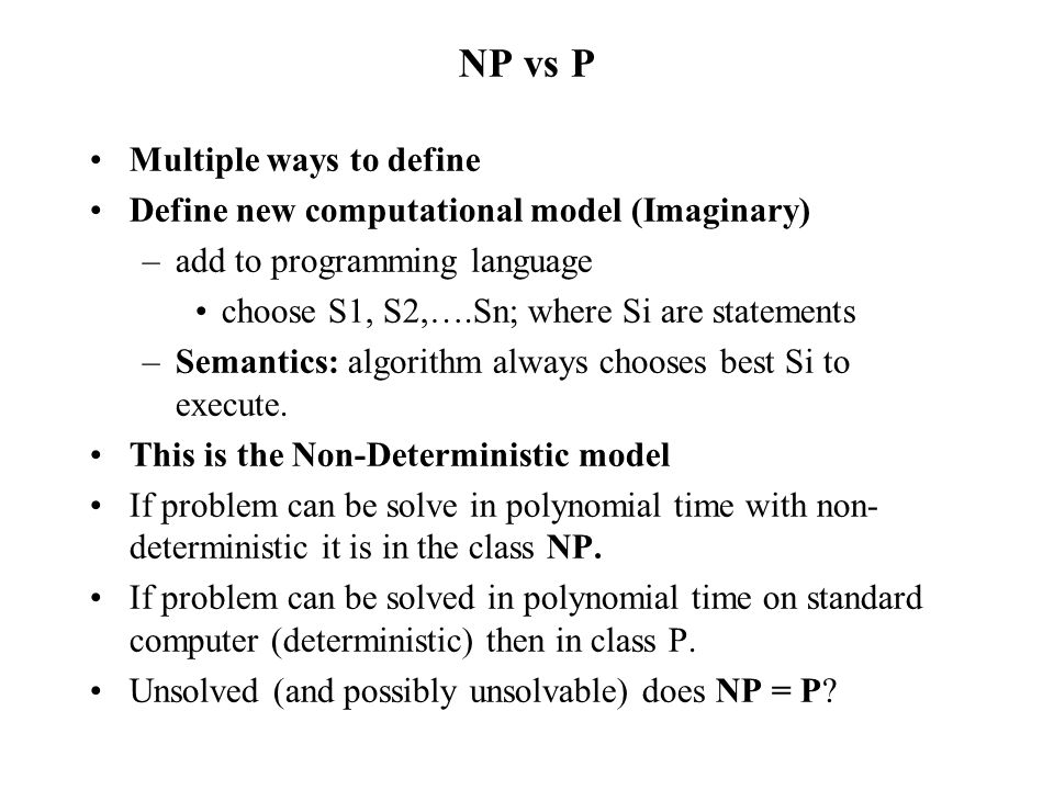 NP vs P Multiple ways to define