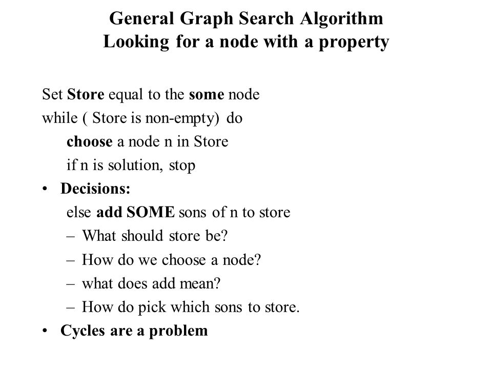 General Graph Search Algorithm Looking for a node with a property