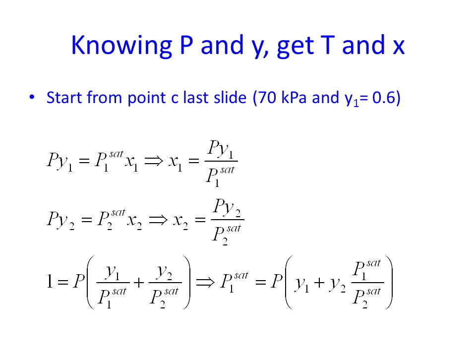 Knowing P and y, get T and x