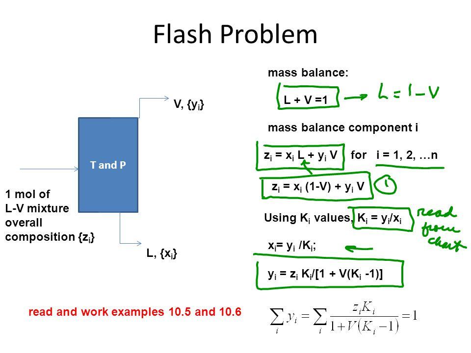 Flash Problem mass balance: L + V =1 V, {yi} mass balance component i