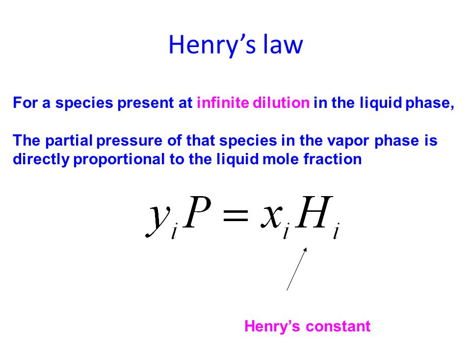 Henry's law For a species present at infinite dilution in the liquid phase, The partial pressure of that species in the vapor phase is.