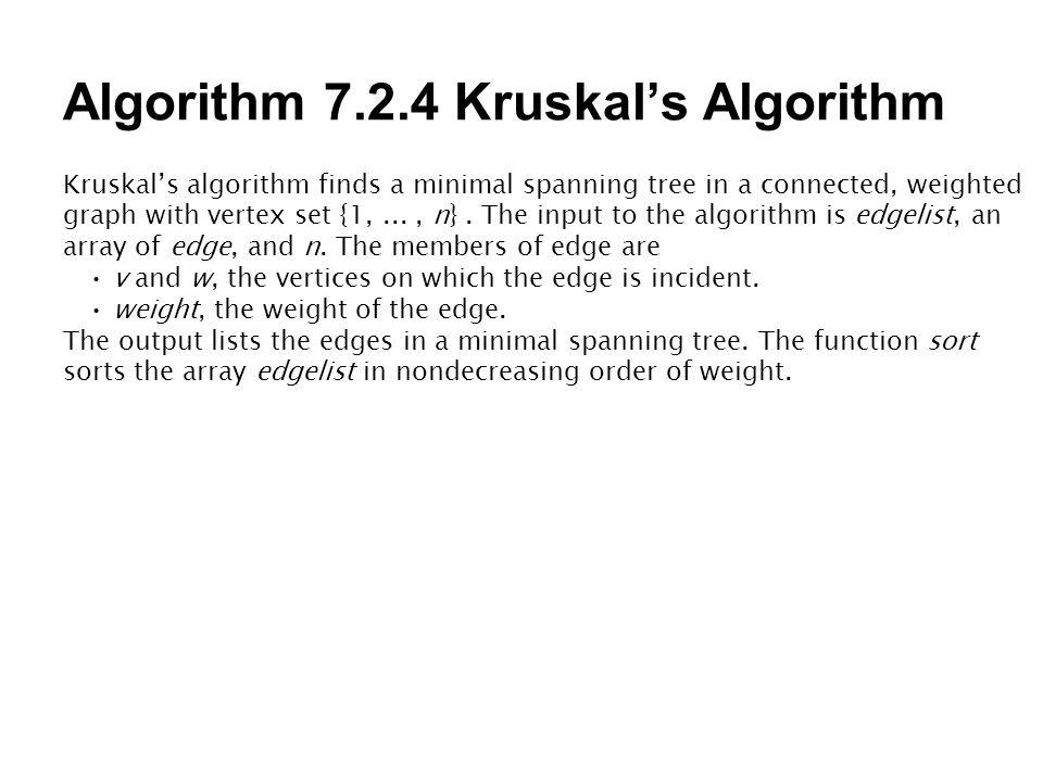 Algorithm 7.2.4 Kruskal's Algorithm