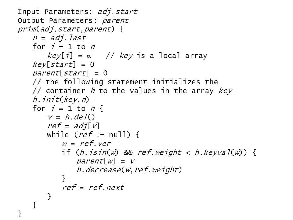 Input Parameters: adj,start