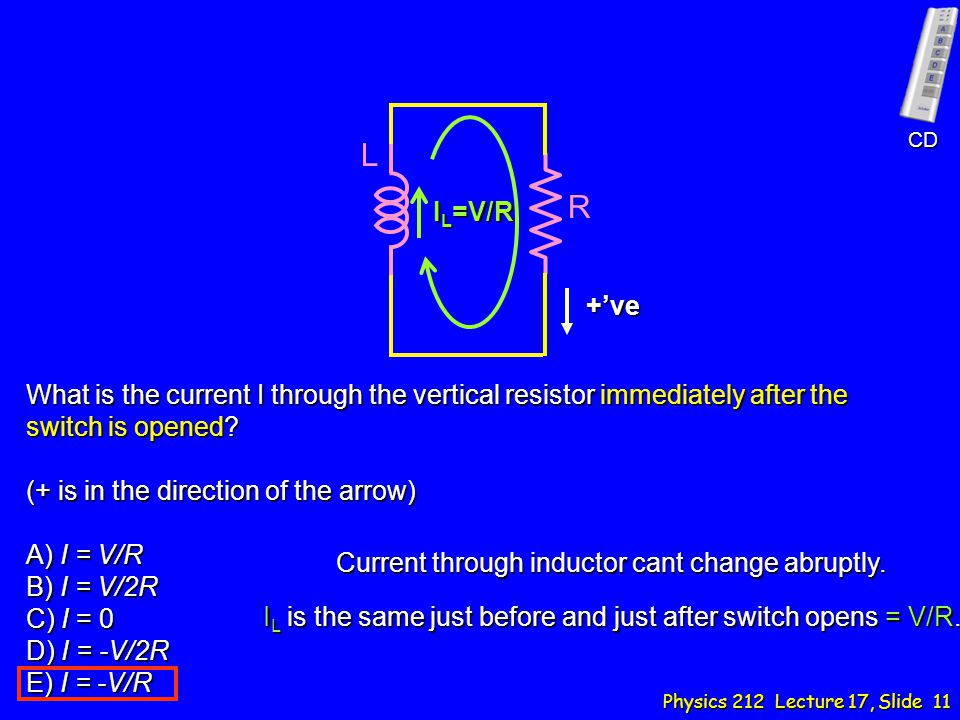 What is the current I through the vertical resistor immediately after the switch is opened