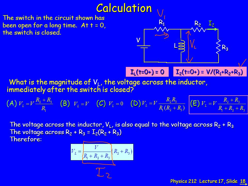 Calculation The switch in the circuit shown has been open for a long time. At t = 0, the switch is closed.