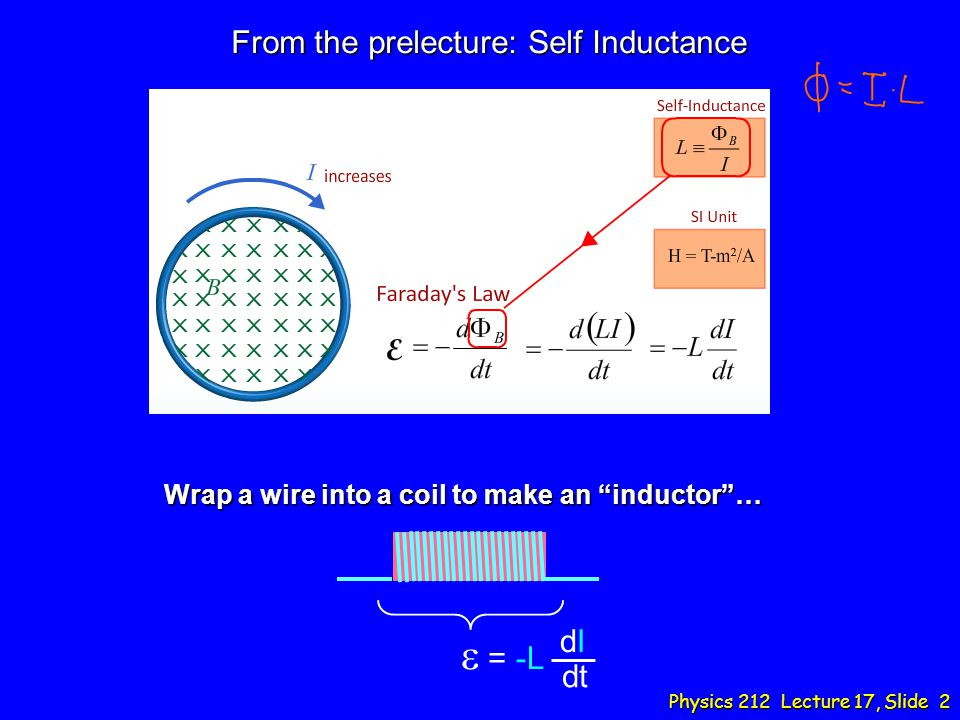 From the prelecture: Self Inductance