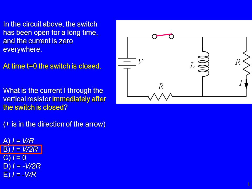 In the circuit above, the switch has been open for a long time, and the current is zero everywhere.