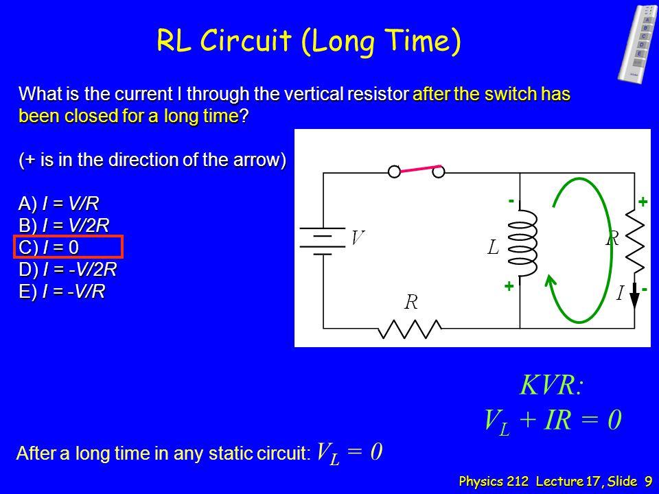 RL Circuit (Long Time) KVR: VL + IR = 0