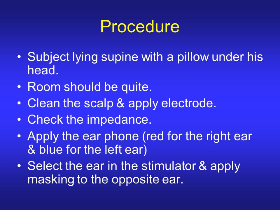 Procedure Subject lying supine with a pillow under his head.