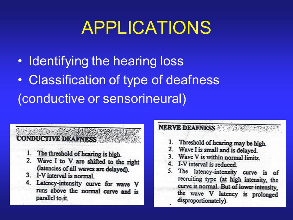 APPLICATIONS Identifying the hearing loss