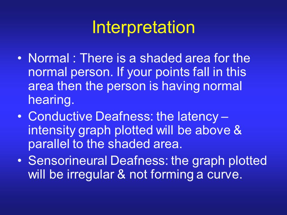 Interpretation Normal : There is a shaded area for the normal person. If your points fall in this area then the person is having normal hearing.