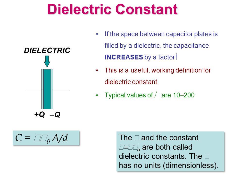 Dielectric Constant C = κε0 A/d DIELECTRIC +Q –Q