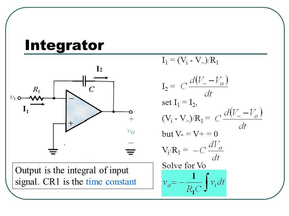 Integrator I1 = (Vi - V)/R1. I2 = set I1 = I2, (Vi - V)/R1 = but V- = V+ = 0. Vi/R1 = Solve for Vo.