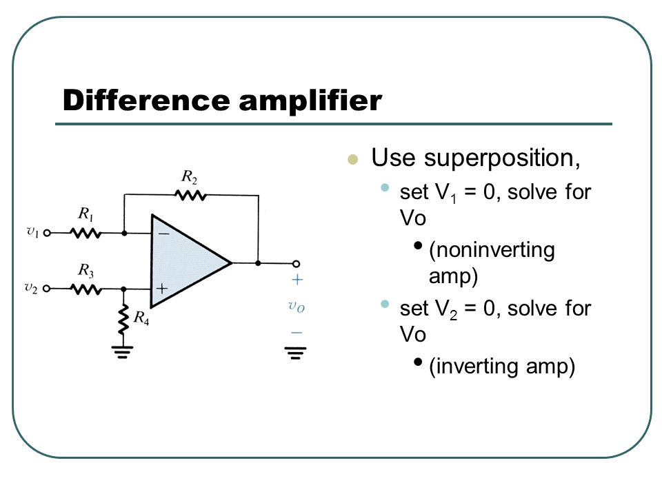 Difference amplifier Use superposition, set V1 = 0, solve for Vo