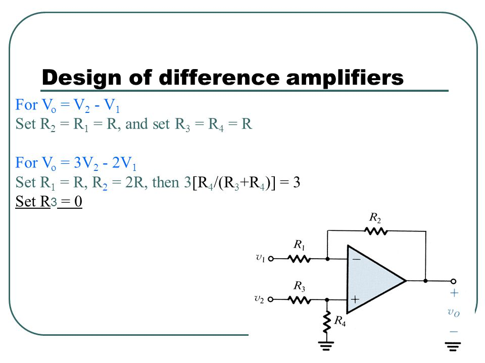 Design of difference amplifiers