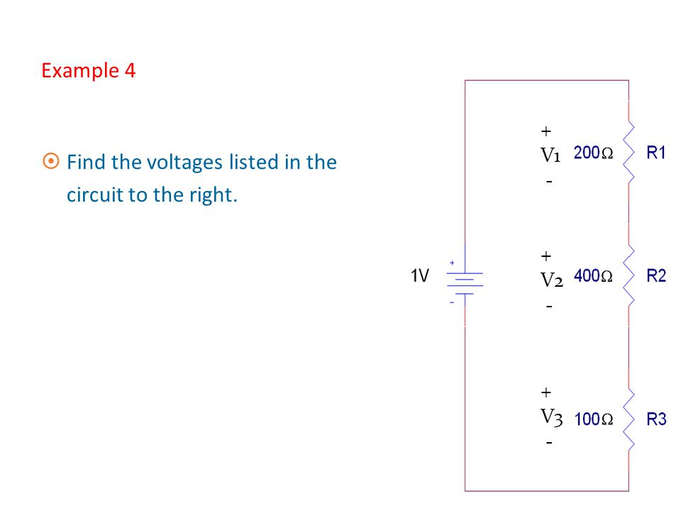 Find the voltages listed in the circuit to the right.