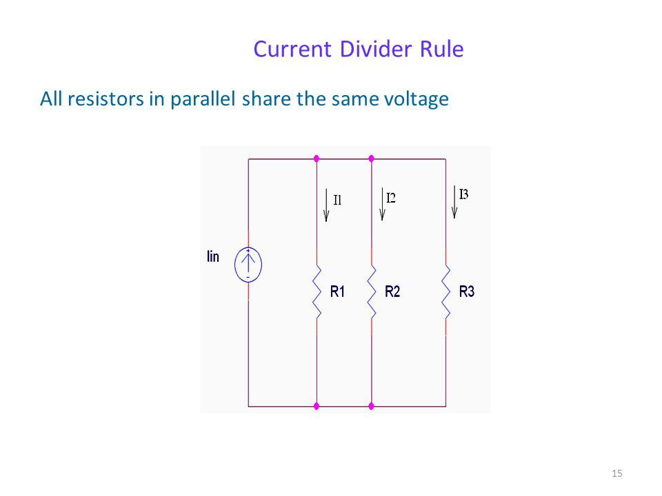Current Divider Rule All resistors in parallel share the same voltage