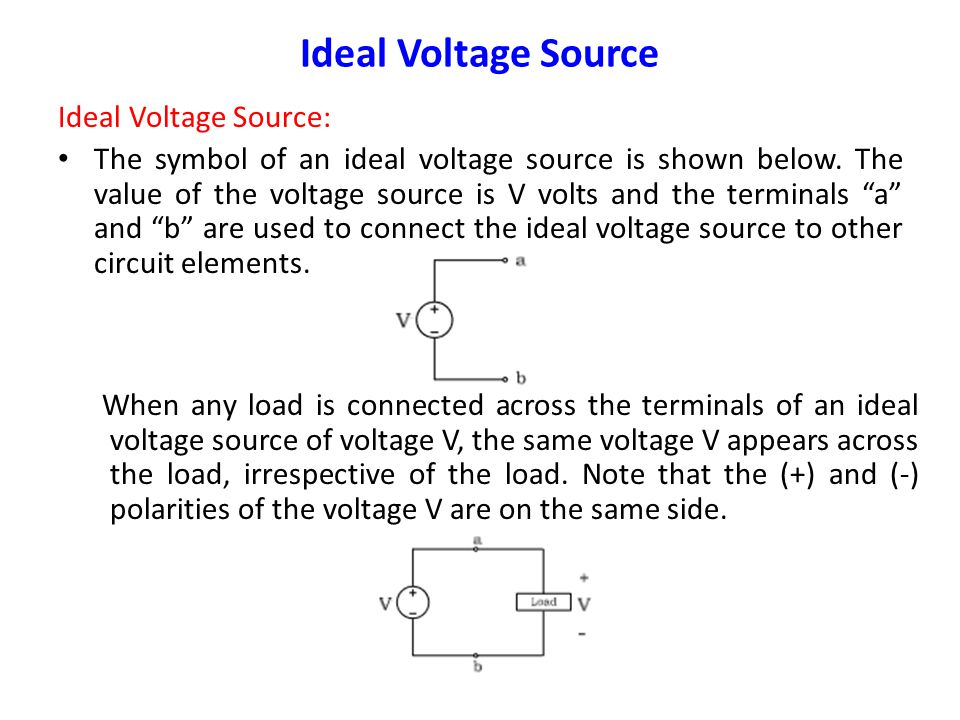 Ideal Voltage Source Ideal Voltage Source: