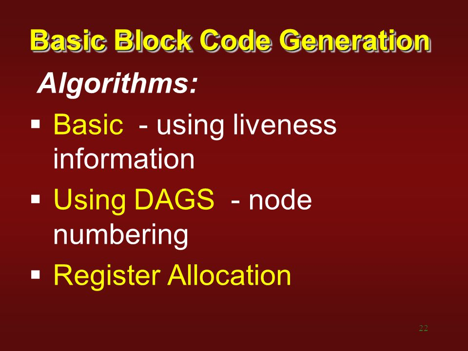 Basic Block Code Generation