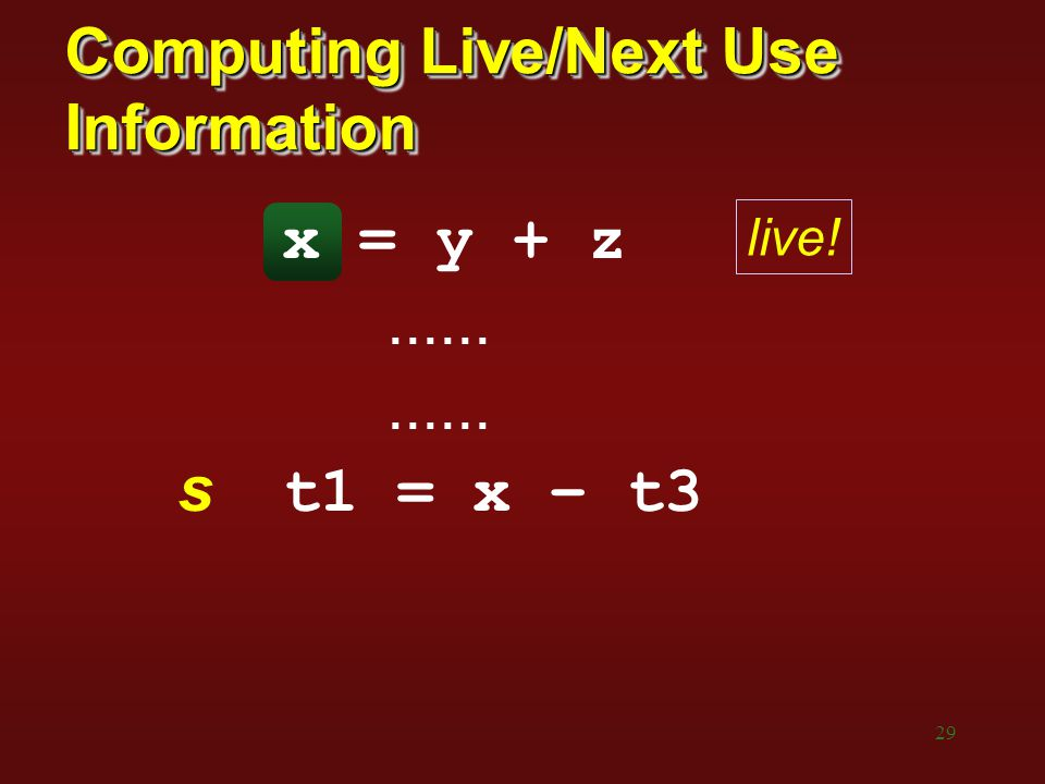 Computing Live/Next Use Information