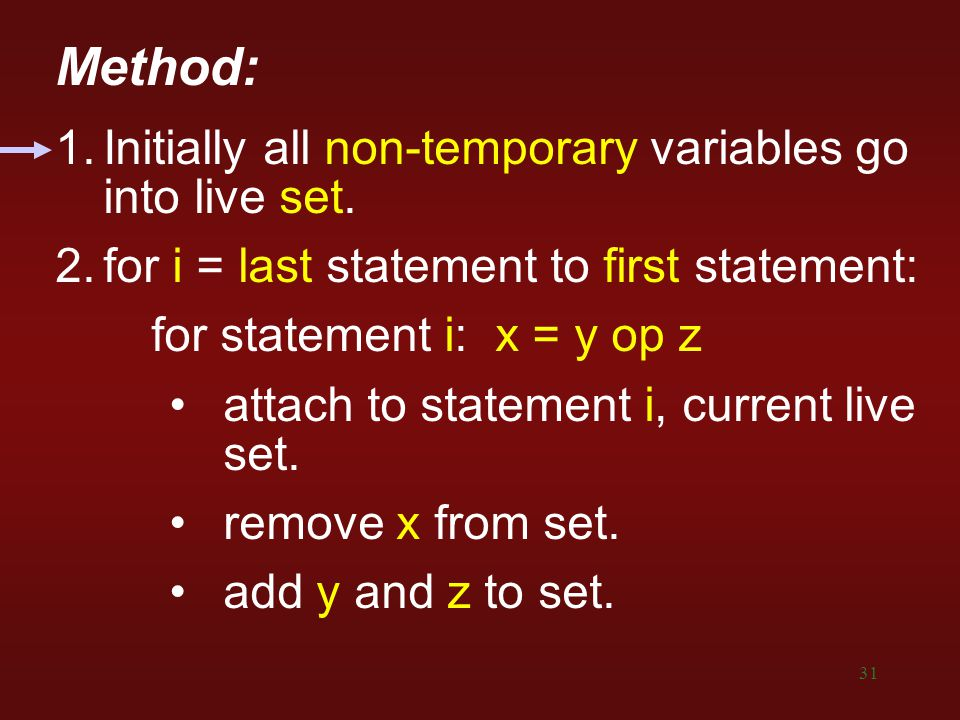 Method: 1. Initially all non-temporary variables go into live set.
