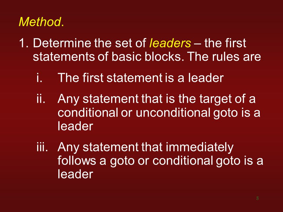 The first statement is a leader