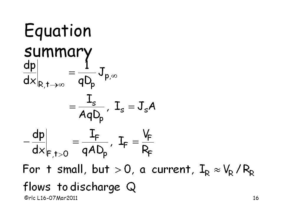 Equation summary ©rlc L16-07Mar2011
