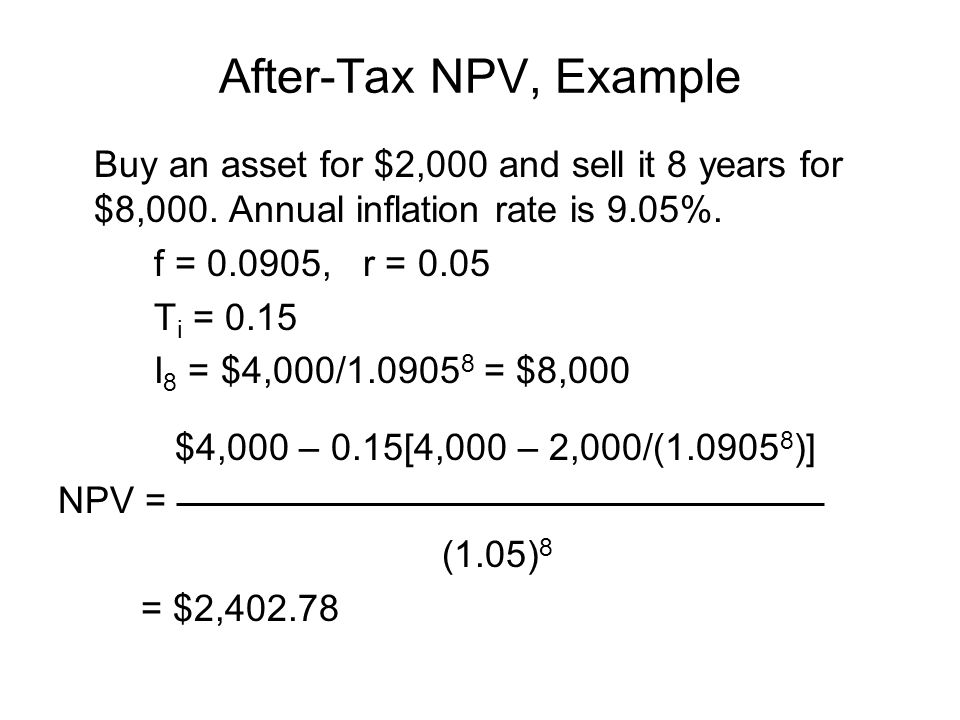 After-Tax NPV, Example Buy an asset for $2,000 and sell it 8 years for $8,000. Annual inflation rate is 9.05%.